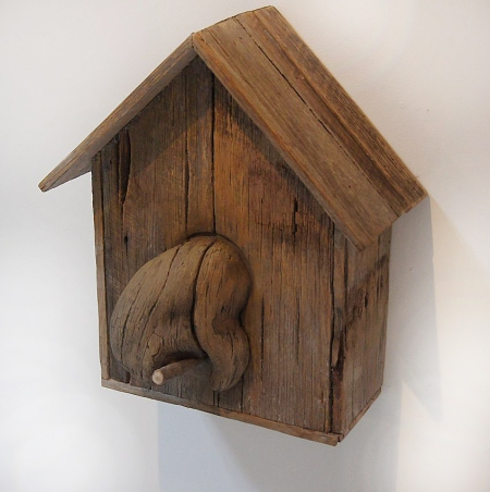 Jason Waterhouse, 'The bird house's big exit', 2013, fence palings, expanding foam, plaster, acrylic paint, 40 x 47 x 25cm