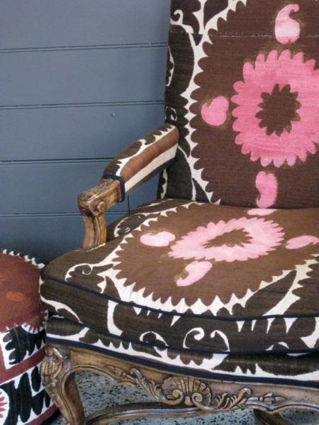 suzani armchair & pouf