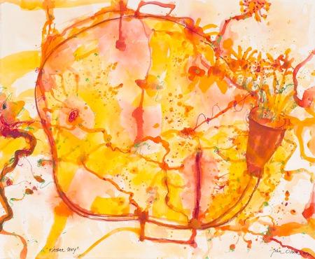 John Olsen, Kitchen Story, Mixed media on arches paper, 76 x 92cm, $55,000