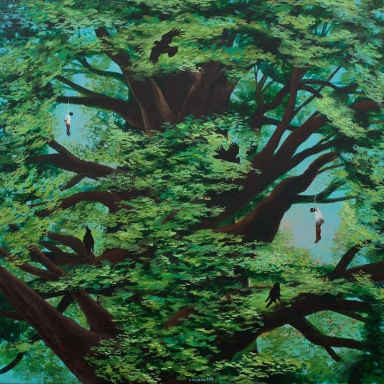 vic-Strange fruit 2013 Acrylic on canvas 92 x 92 cm